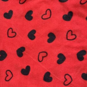 Black Hearts on Red Polar Fleece