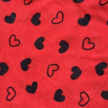 Black Hearts on Red Polar Fleece