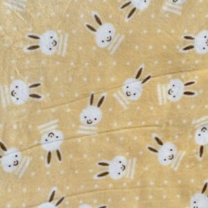 Coral Fleece Bunnies on Yellow