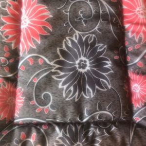 Black & Red Flowers Cotton Crate Mat
