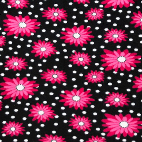 Pink Flowers on a Black Background Polar Fleece