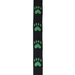 Green Paws on Black Small Fluff Collar