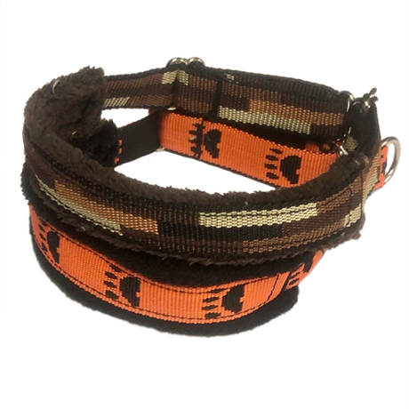 Black Paw on Orange Medium Fluff Collars
