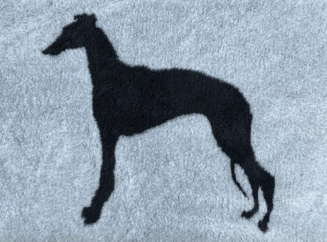 Whippet Standing on Silver VetBed