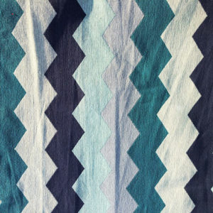 Blue Green ZigZags Tapestry Crate Mat