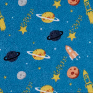 Blue Rockets and Planets Polar Fleece