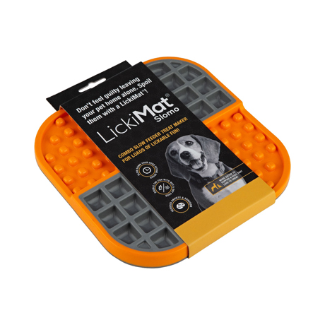 LickiMat Slomo Wet & Dry Double Slow Food Bowl Orange