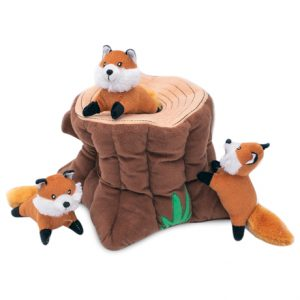 Interactive Burrow Foxes and Stump
