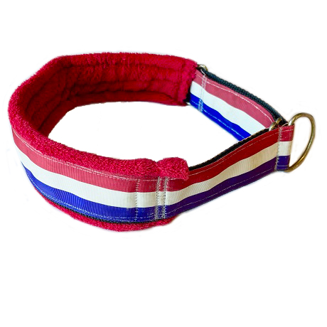 Fluff Collar Red White Blue Stripes on Red